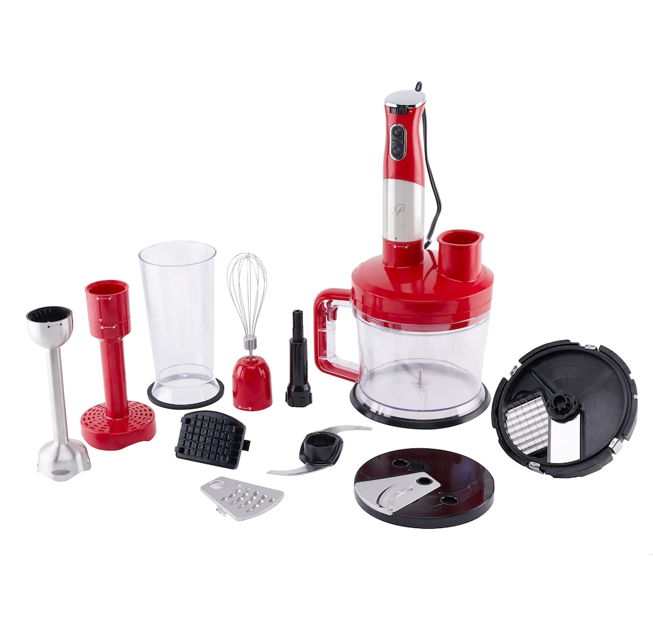 Image 554825_RED.jpg , Product 554-825 / Price $139.99 , Wolfgang Puck 7-in-1 Immersion Blender with 12-Cup Food Processor from Wolfgang Puck on TSC.ca's Kitchen department