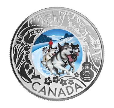2019 $3 Fine Silver Coin Celebrating Canadian Fun and Festivities - Dog Sledding