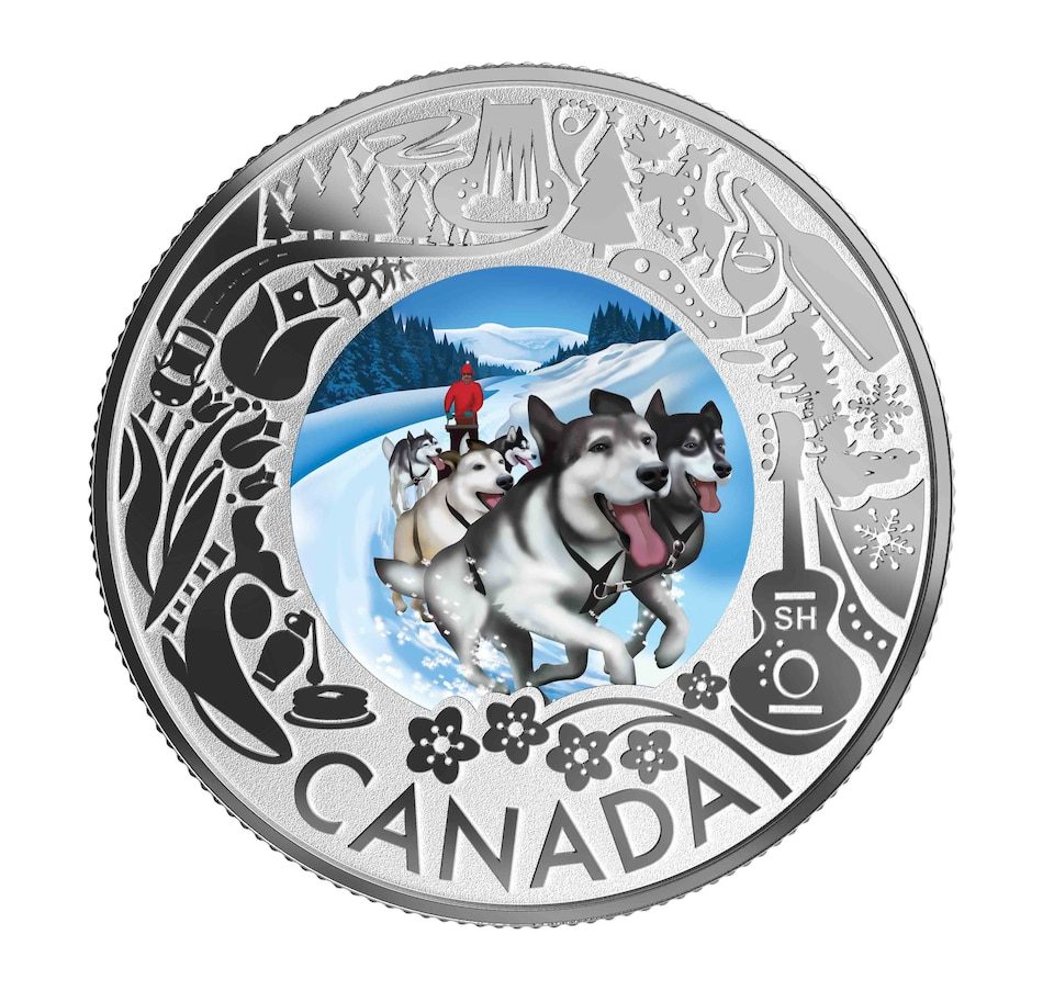 Image 554842.jpg , Product 554-842 / Price $49.95 , 2019 $3 Fine Silver Coin Celebrating Canadian Fun and Festivities - Dog Sledding from Royal Canadian Mint on TSC.ca's Coin department