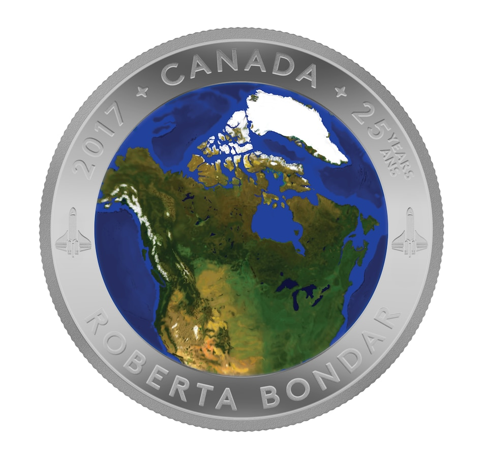 Image 554855.jpg , Product 554-855 / Price $159.95 , 2017 $25 Fine Silver Colour Convex Coin - A View from Space from Royal Canadian Mint on TSC.ca's Coins department