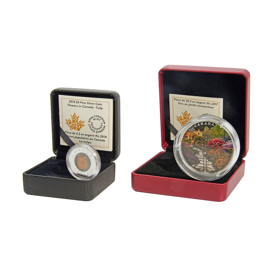 Image 554859.jpg , Product 554-859 / Price $379.00 , Fine Silver Two-Coin Set $30 Enchanted Garden and $5 Tulips from Royal Canadian Mint on TSC.ca's Coins department