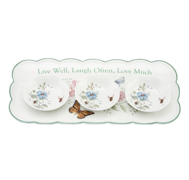 Lenox Butterfly Meadow Sentiment Hors D'Oeuvres Tray with 3 Dipping Bowls