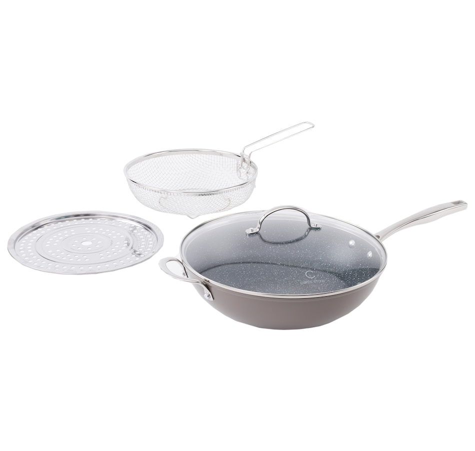 Image 555129_GRY.jpg , Product 555-129 / Price $99.99 , Curtis Stone Dura-Pan 5-Quart 4-piece Nonstick Chef's Skillet Set from Curtis Stone on TSC.ca's Kitchen department