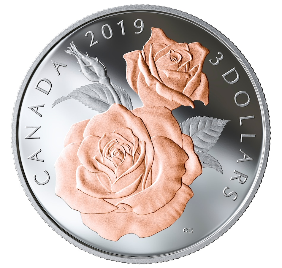 Image 555134.jpg , Product 555-134 / Price $54.95 , 2019 $3 Fine Silver Proof Coin Queen Elizabeth Rose Blossoms from Royal Canadian Mint on TSC.ca's Coins department