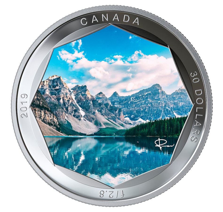 Image 555138.jpg , Product 555-138 / Price $189.95 , 2019 $30 Fine Silver Coin Peter McKinnon Photo Series: Moraine Lake from Royal Canadian Mint on TSC.ca's Coins department