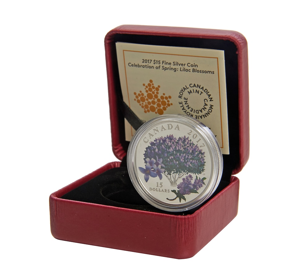 Image 555162.jpg , Product 555-162 / Price $69.95 , 2017 $15 Fine Silver Coin Lilac Blossoms from Royal Canadian Mint on TSC.ca's Coins department