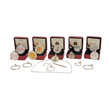 Set of Five Fine Silver Coins with Jewellery Bezel Kit