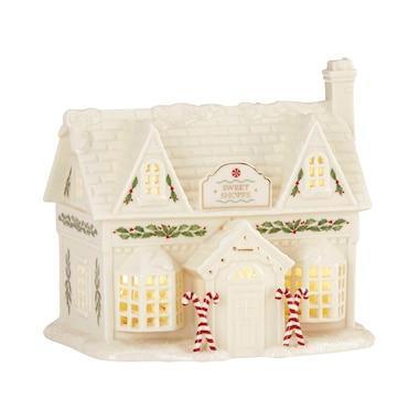 Lenox Lit Porcelain Holiday Village Figure with 24K Gold Accents