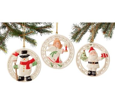 Lenox 3-Piece Figural Porcelain Ornaments with 24K Gold