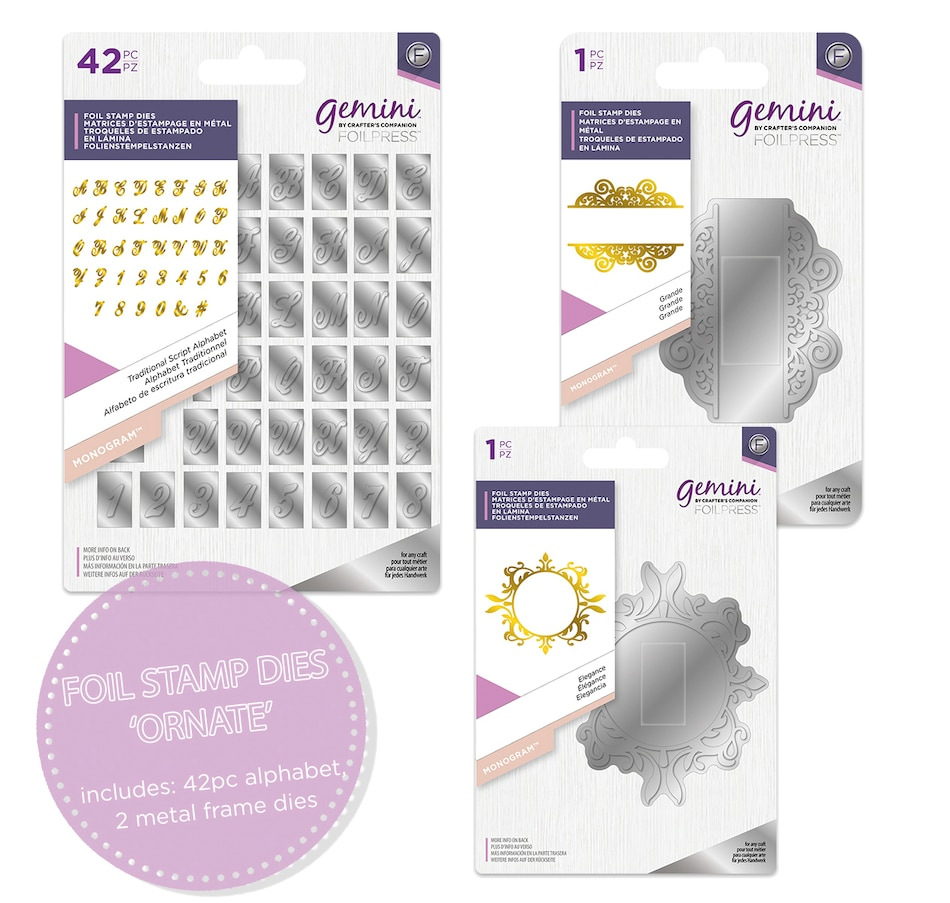 Image 555308_ORNT.jpg , Product 555-308 / Price $31.88 , Crafter's Companion Gemini Foilpress Monogram Foil Stamp Dies from Crafter's Companion on TSC.ca's Home & Garden department