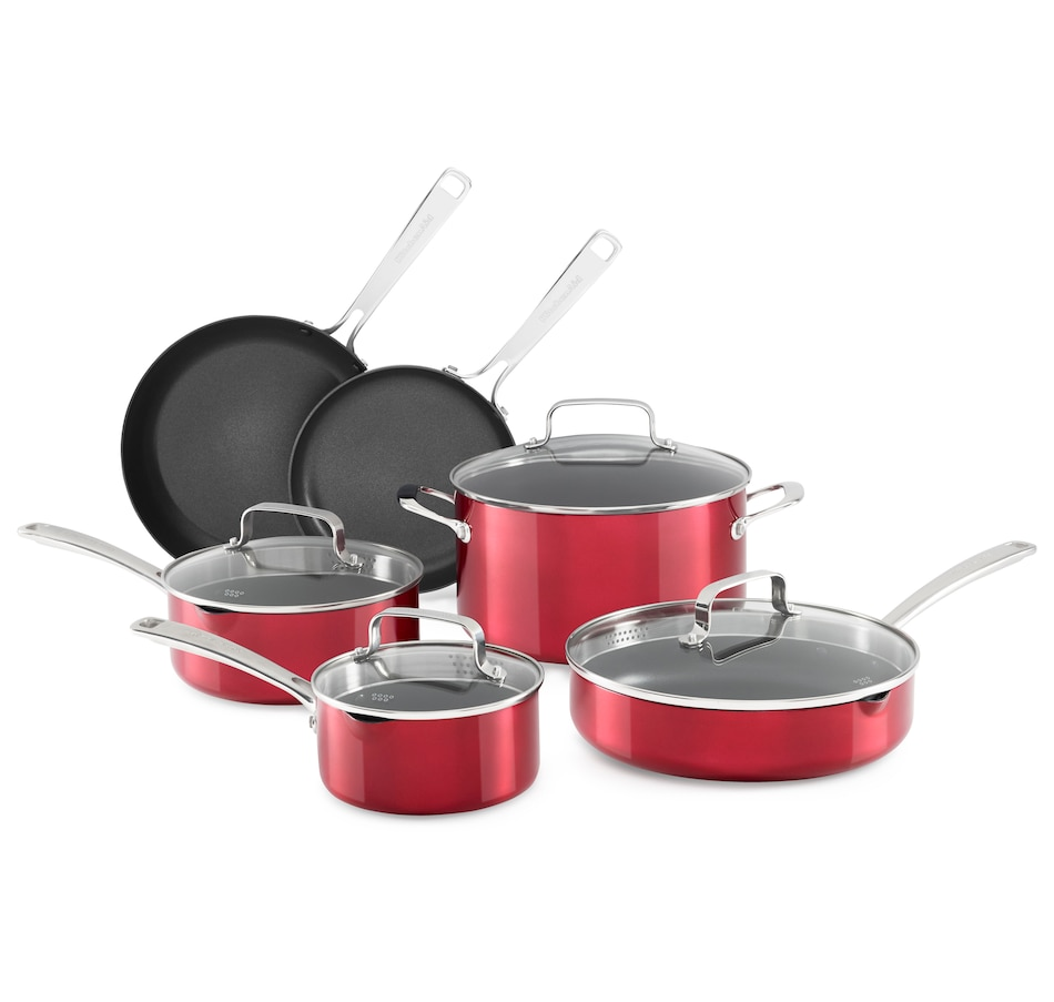 Image 555396_RDV.jpg , Product 555-396 / Price $224.99 , KitchenAid Aluminum Non-Stick 10-Piece Cookware Set from KitchenAid on TSC.ca's Kitchen department