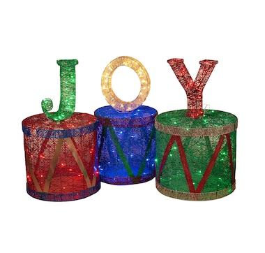 Holiday Memories Joy Outdoor Electric Lighted Set of 3 Drums