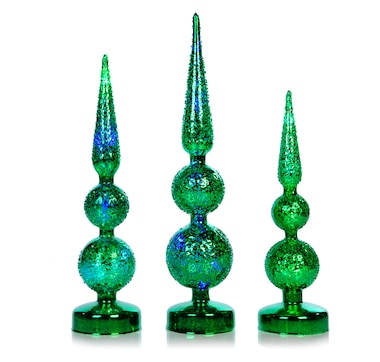 Holiday Memories Mercury Glass Texture Illuminated Finial - Set of 3
