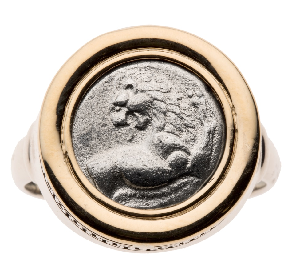 Ancient Greek Coin Ring Set in 14-Karat Gold and Sterling Silver Featuring  High-Grade Silver Lion Hemidrachm Circa 480-350 BCE