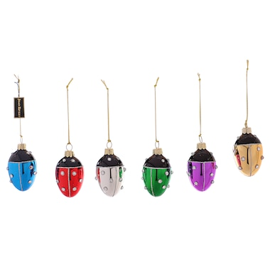 Joan Rivers Set of 6 Colourful Mini Ladybug Egg Ornaments