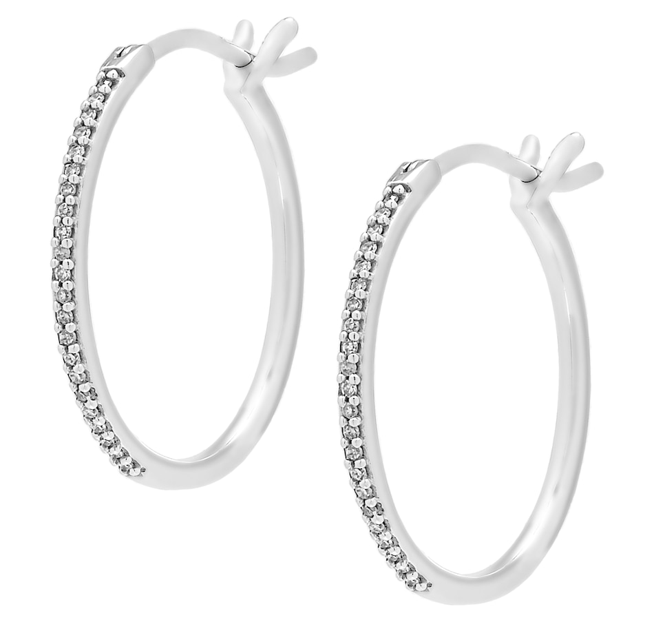 Image 560651.jpg , Product 560-651 / Price $469.99 , 10K White Gold 0.10ctw Diamond Hoop Earrings from Diamond Show on TSC.ca's Jewellery department