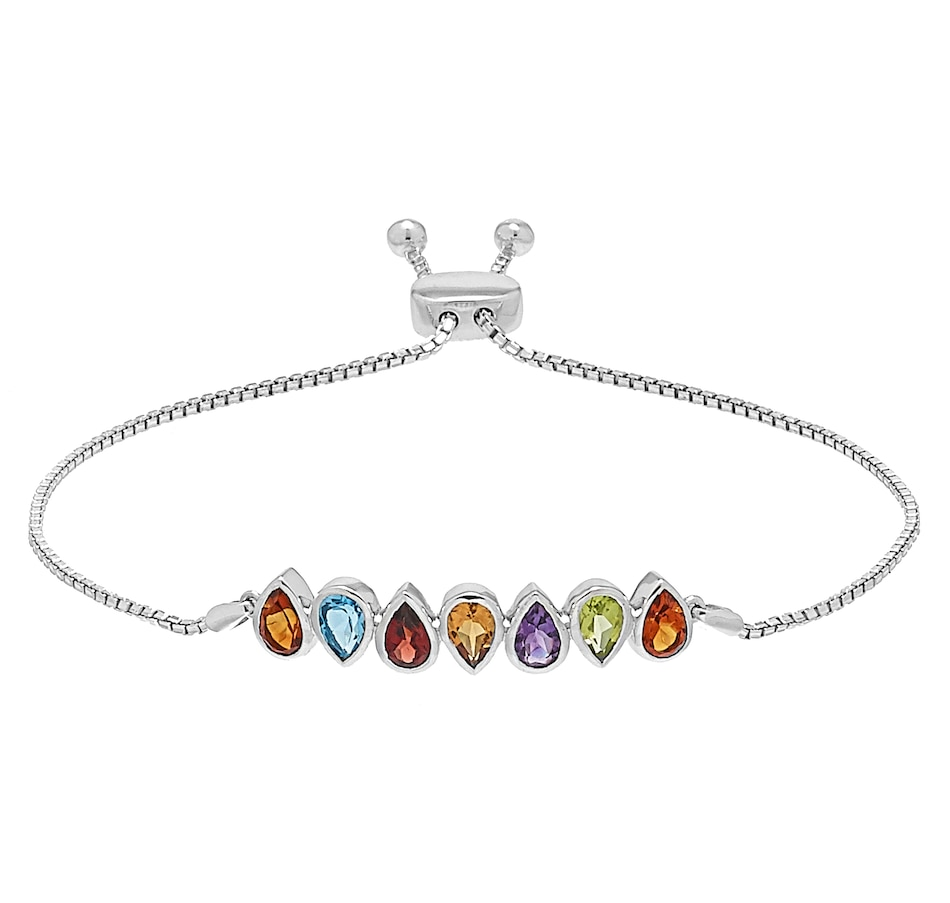 Image 560667.jpg , Product 560-667 / Price $1,429.99 , 14K White Gold Pear Shape Multi Gemstone Bolo Bracelet from The Vault on TSC.ca's Jewellery department
