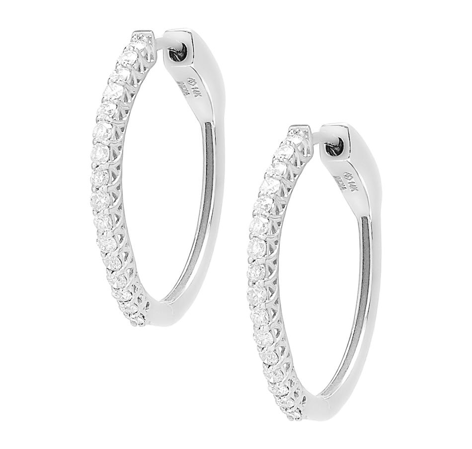 Image 560790_WGP25.jpg , Product 560-790 / Price $629.99 - $4,899.99 , 14K Gold Diamond Hoop Earrings from Diamond Show on TSC.ca's Jewellery department