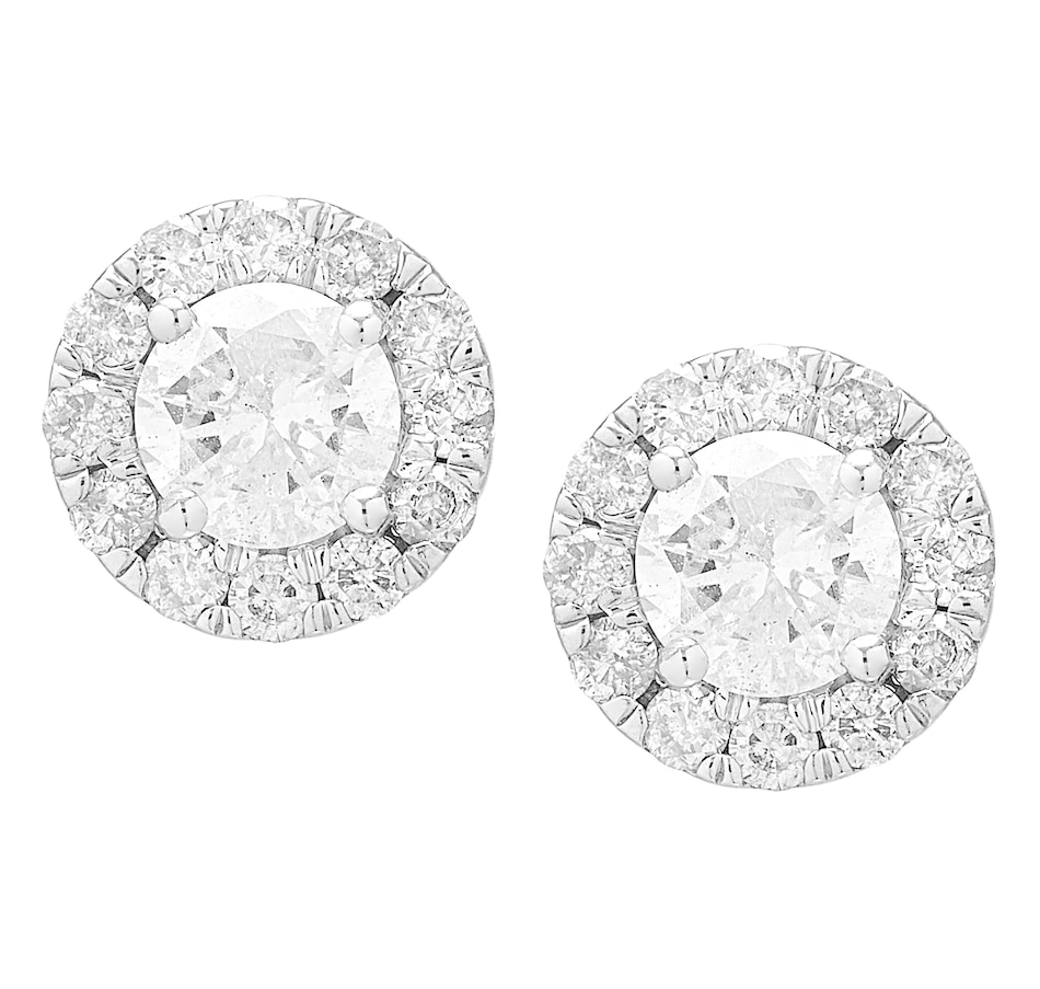 Image 560792_150CT.jpg , Product 560-792 / Price $749.99 - $3,149.99 , 14K White Gold Diamond Halo Stud Earrings from Diamond Show on TSC.ca's Jewellery department