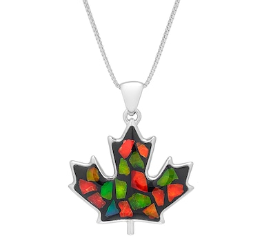 "Korite Ammolite Sterling Silver Maple Leaf Elements Mosaic Pendant with 18"" Chain"