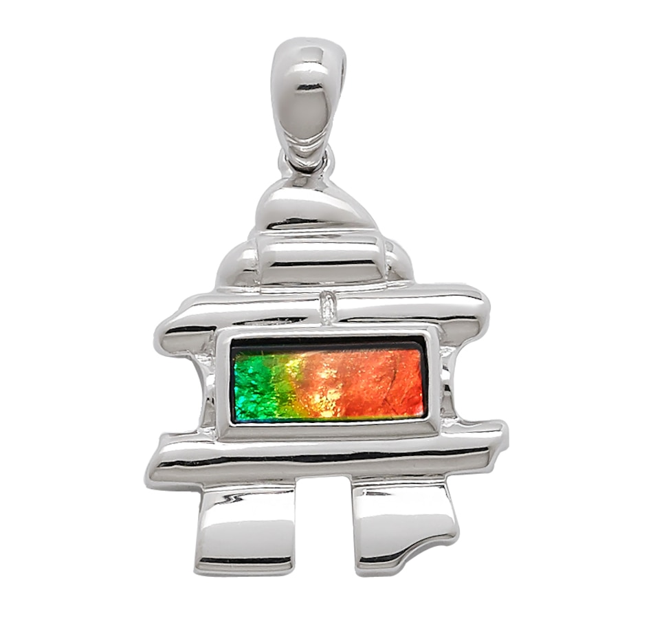 Image 594857.jpg , Product 594-857 / Price $39.33 , Sterling Silver 10x4mm Ammolite Inukshuk Pendant from Korite Ammolite on TSC.ca's Jewellery department