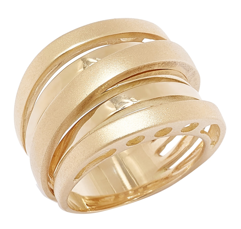 UNOAERRE 18K Gold Iconic Two Textured Crossover Ring