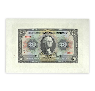 American Bank Note Company Sample Specimen Note, c. Early 1900s (George Washington Design)