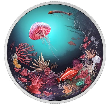 $30 Fine Silver Coin Illuminated Coral Reef Glow in the Dark