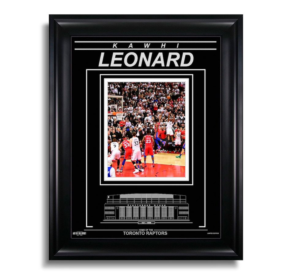 Image 609551.jpg , Product 609-551 / Price $119.99 , Kawhi Leonard Toronto Raptors Engraved Framed Photo - Game 7 Buzzer Beater  on TSC.ca's Sports department