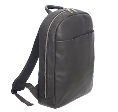 Club Rochelier Slim Leather Business Backpack With Laptop Pocket-Black