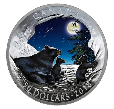 $50 Fine Silver Coin Nature's Light Show - Moonlit Tranquility, Bears