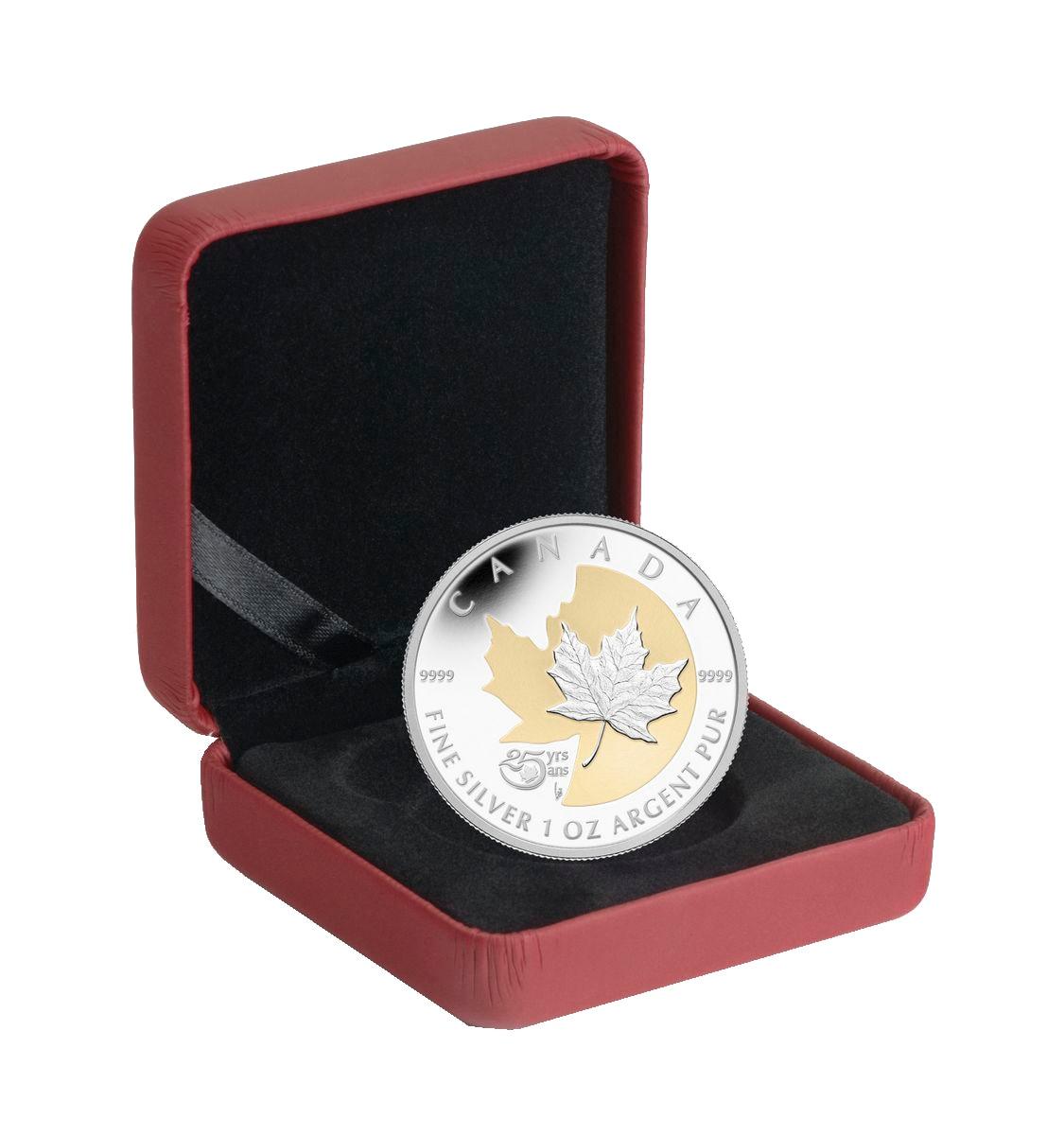 The Silver Maple Leaf 2013 Canada $5 Fine Silver Coin 25th Anniversary