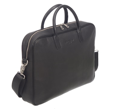 Club Rochelier Leather Top Handle Messenger Briefcase-Black