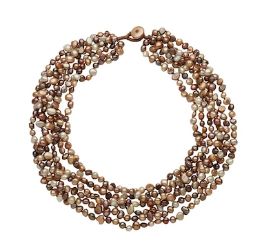 SUGOI Freshwater Pearl 7-Row Necklace with Coin Pearl Clasp