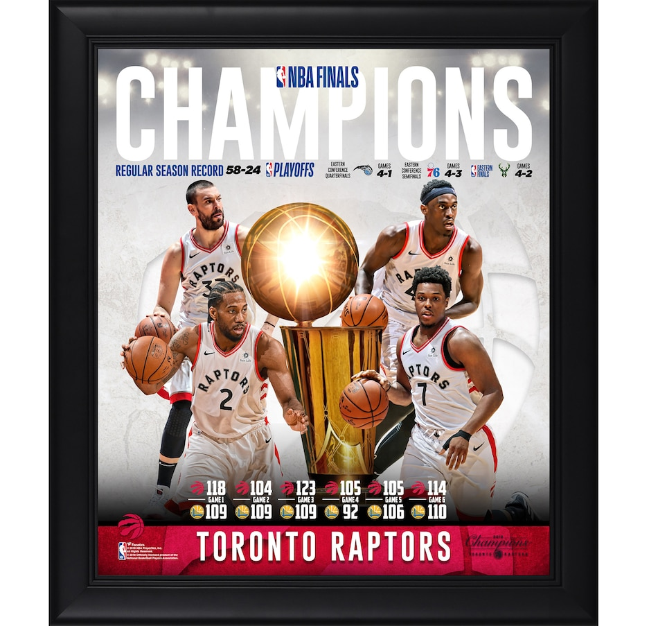 """Image 618333.jpg , Product 618-333 / Price $74.99 , Fanatics Authentic Toronto Raptors Framed 15"""" x 17"""" NBA Championship Collage from Fanatics on TSC.ca's Sports department"""