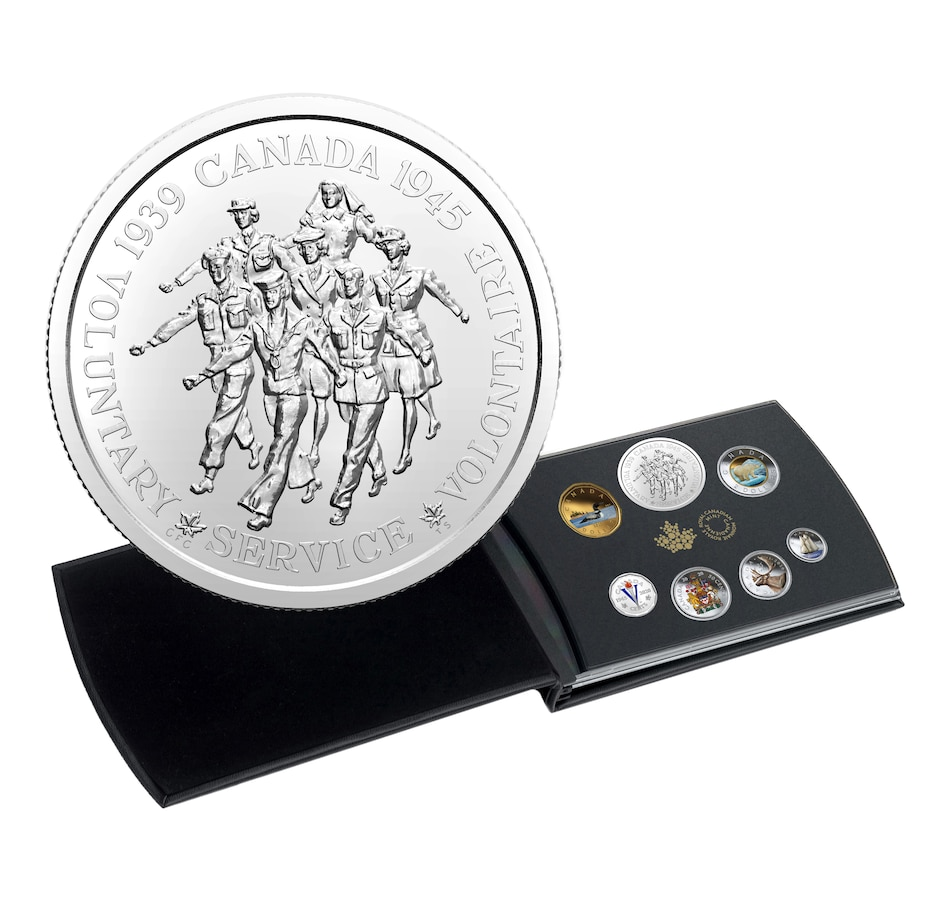 Image 618466.jpg , Product 618-466 / Price $199.95 , 2020 Fine Silver Proof Set - Victory Issue Coloured Canadian Coins and Medallion Set from Royal Canadian Mint on TSC.ca's Coins department