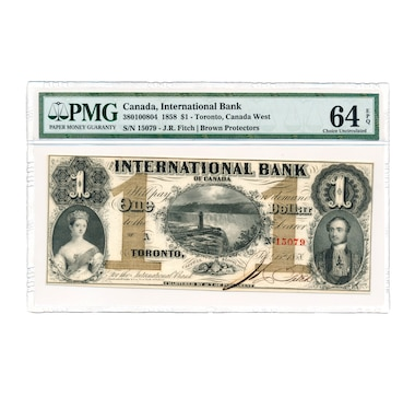 $1 1858 Banknote International Bank of Canada, PMG Certified Choice  Uncirculated 64, Serial Number 15079