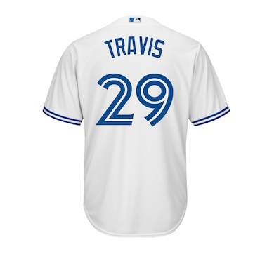 Men's Devon Travis Toronto Blue Jays MLB Cool Base Replica Home Jersey