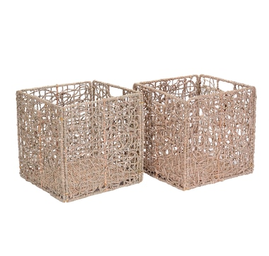 "Villacera 12"" Square Handmade Wicker Storage Bin (Set of 2, Natural)"