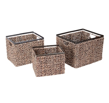 Villacera Rectangular Twisted Wicker Baskets (Set of 3)