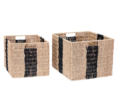 Villacera Rectangular Hand-Weaved Wicker Baskets (Set of 2, Black)