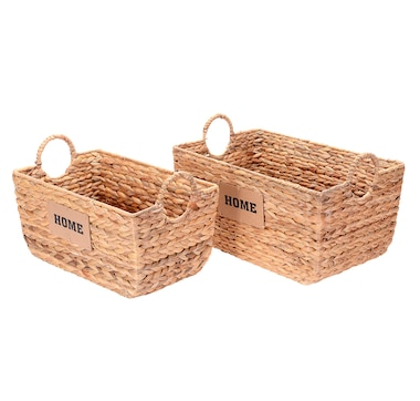 Villacera Dolores Wicker Rectangular Nesting Baskets with Home Label (Set of 2)