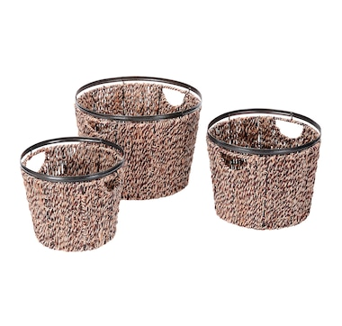 Villacera Round Twisted Wicker Baskets (Set of 3)
