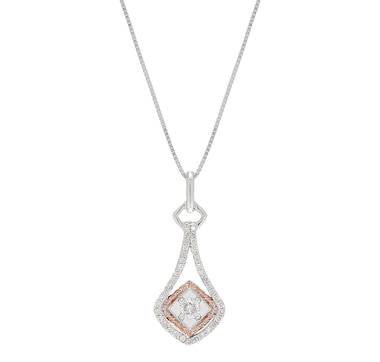 10K Gold Two Tone Diamond Drop Pendant with Chain