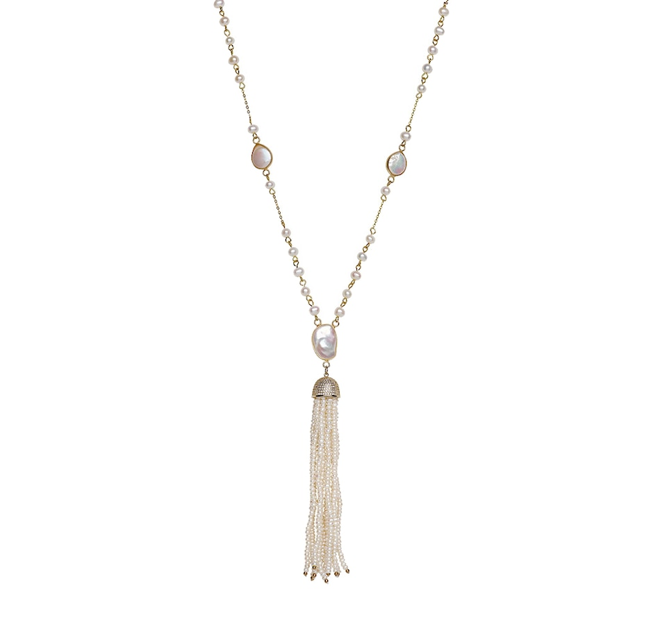 Image 619414.jpg , Product 619-414 / Price $199.99 , SUGOI Pearl Sterling Silver Yellow Gold Plate Tassle Necklace from Sugoi Pearls on TSC.ca's Jewellery department