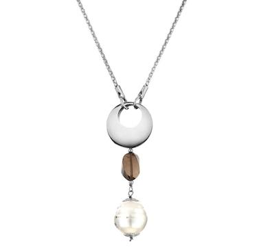 SUGOI Pearl & Smokey Quartz Sterling Silver Necklace