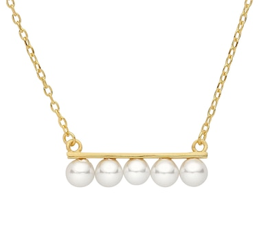 SUGOI Pearl Sterling Silver Yellow Gold Plate Bar Necklace