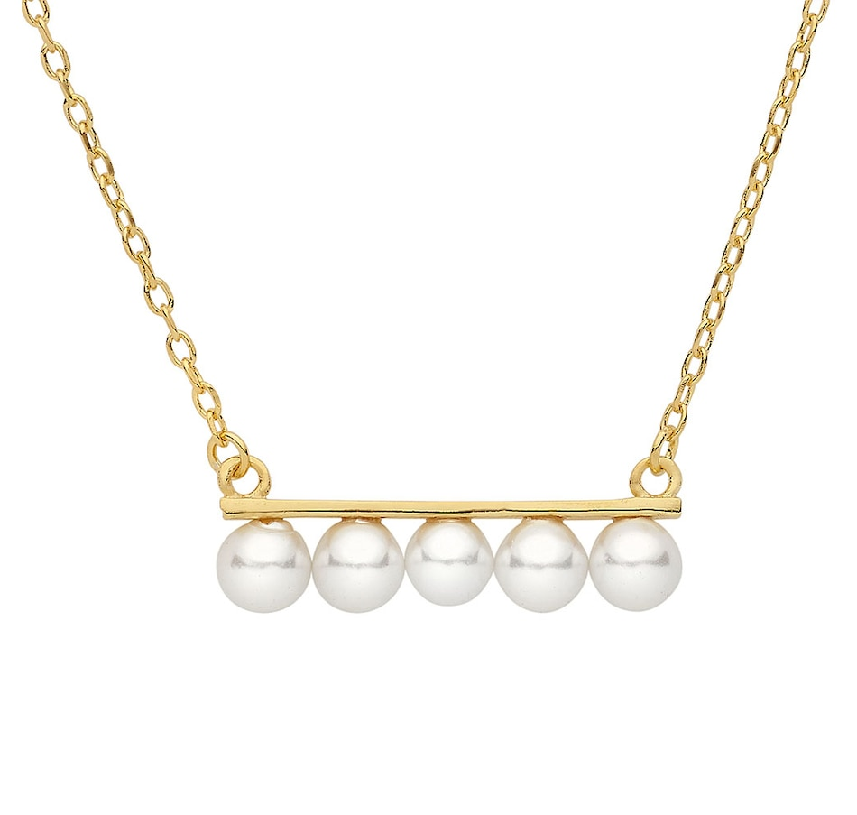 Image 619418.jpg , Product 619-418 / Price $92.99 , SUGOI Pearl Sterling Silver Yellow Gold Plate Bar Necklace from Sugoi Pearls on TSC.ca's Jewellery department