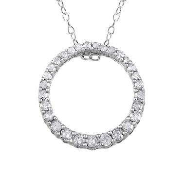 Sophia B Sterling Silver Diamond Circle Pendant with Chain
