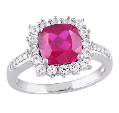 Sophia B Sterling Silver Created Ruby & Created White Sapphire Square Shape Ring